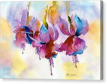 Flaming Fuchsias Canvas Print by Pat Yager