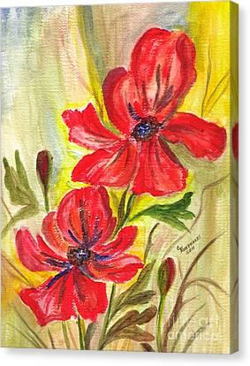 Flaming Garden Flowers Canvas Print by Clementine Kondracki
