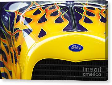 Flaming Hot Rod Canvas Print by Tim Gainey
