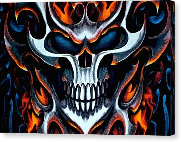 Flaming Skull Canvas Print