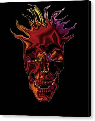 Flaming Skull Canvas Print by Denise Beverly