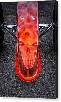 Flaming Skull Nose Art Canvas Print by Jeff Sinon