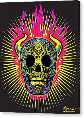 Flaming Skull Canvas Print by Tony Rubino