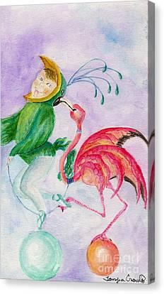 Flamingo Circus Canvas Print by Tamyra Crossley