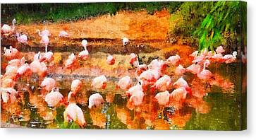 Flamingo Gathering Canvas Print by Dan Sproul