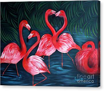 Flamingo Love. Inspirations Collection. Special Greeting Card Canvas Print