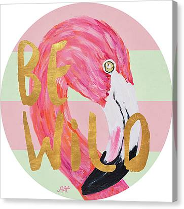 Flamingo On Stripes Round Canvas Print by Julie Derice