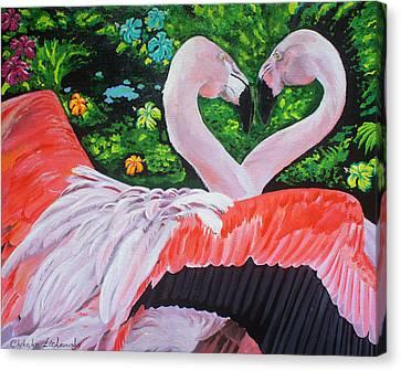 Flamingo Paradise Canvas Print by Chikako Hashimoto Lichnowsky