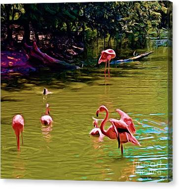 Flamingo Party Canvas Print by Luther Fine Art