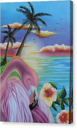 Canvas Print featuring the painting Flamingo Sunset by Dianna Lewis