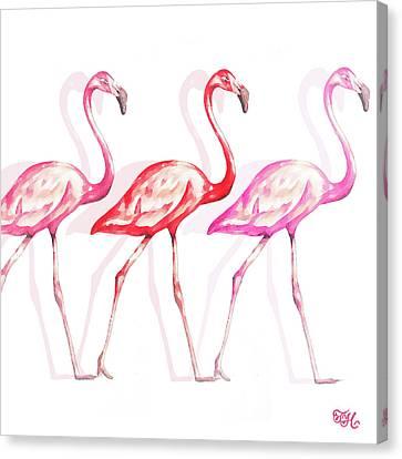 Flamingo Trio I Canvas Print by Tiffany Hakimipour