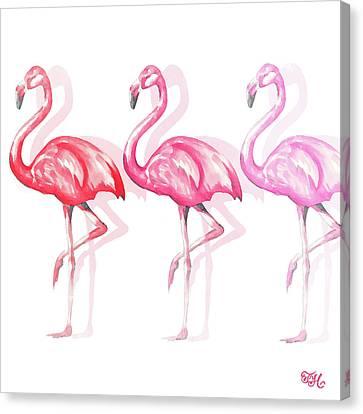 Flamingo Trio II Canvas Print by Tiffany Hakimipour