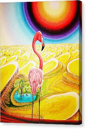 Canvas Print featuring the painting Flamingo by Viktor Lazarev