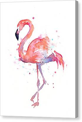 Flamingo Watercolor Canvas Print by Olga Shvartsur