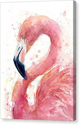 Flamingo Watercolor Painting Canvas Print by Olga Shvartsur