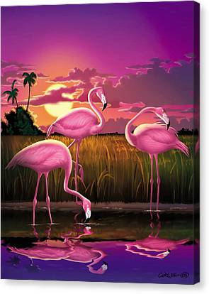 Flamingoes Flamingos Tropical Sunset Landscape Florida Everglades Large Hot Pink Purple Print Canvas Print by Walt Curlee