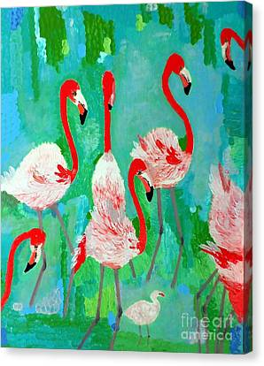 Flamingos 1 Canvas Print by Vicky Tarcau