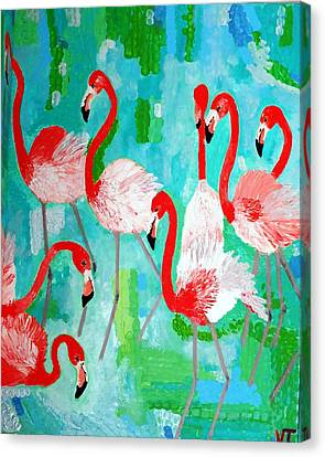 Flamingos 2 Canvas Print by Vicky Tarcau