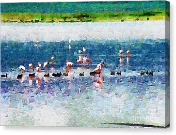 Flamingos And Ducks Painting Canvas Print by George Fedin and Magomed Magomedagaev