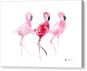 Flamingos Painting Watercolor Art Print Canvas Print by Joanna Szmerdt