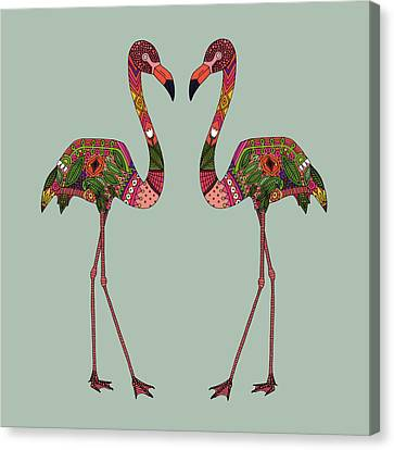 Flamingo Canvas Print - Flamingos Seafoam by Sharon Turner