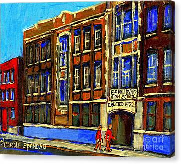 Flashback To Sixties Montreal Memories Baron Byng High School Vintage Landmark St. Urbain City Scene Canvas Print