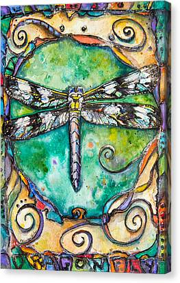 Silver Turquoise Canvas Print - Flashy Dragonfly Children Of The Earth Series by Patricia Allingham Carlson
