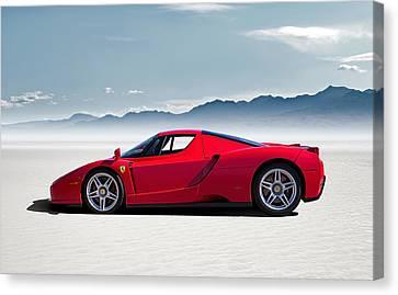 Red Ferrari Canvas Print - Flat Out  by Douglas Pittman