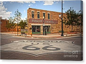 Flatbed Ford And Winslow Route 66 Canvas Print
