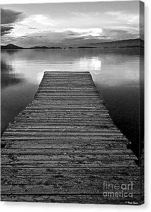 Greyscale Canvas Print - Flathead Lake Dock Sunset - Black And White by Brian Stamm