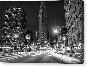 Flatiron Building At Night Black And White Canvas Print by David Morefield