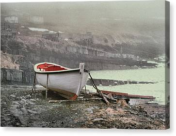 Flatrock Boat In Winter Canvas Print