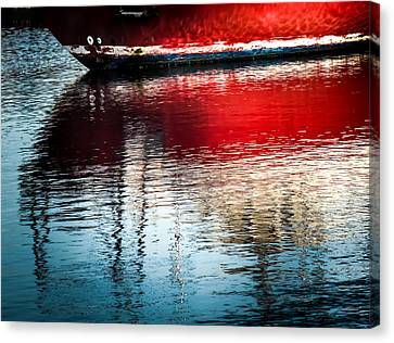 Red Boat Serenity Canvas Print by Karen Wiles