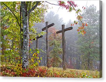 The Wooden Cross Canvas Print - Flax Creek In The Fog by Debra and Dave Vanderlaan