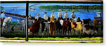 Florida Crackers Mural Pano Canvas Print by David Lee Thompson
