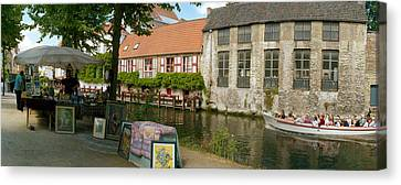 Flea Market At A Canal, Dijver Canal Canvas Print by Panoramic Images