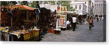 Flea Market At A Roadside, Greenmarket Canvas Print by Panoramic Images