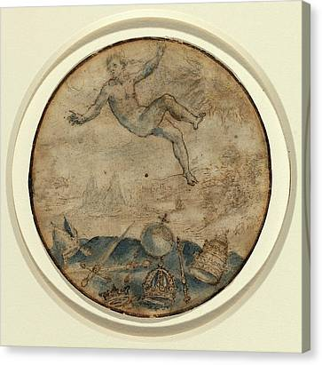 Flemish 17th Century, Man Falling From The Sky Canvas Print by Quint Lox