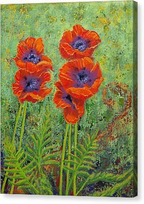 Fleurs Des Poppies Canvas Print by Margaret Bobb