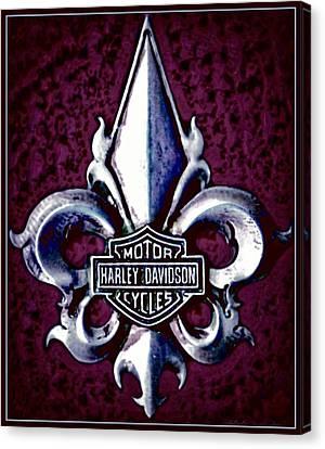 Fleurs De Lys With Harley Davidson Logo Canvas Print
