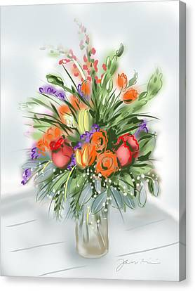 Canvas Print featuring the painting Fleurs Pour Moi by Jean Pacheco Ravinski