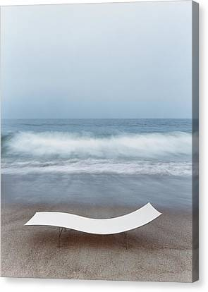Pacific Coast States Canvas Print - Flexy Batyline Mesh Curve Chaise On Malibu Beach by Simon Watson