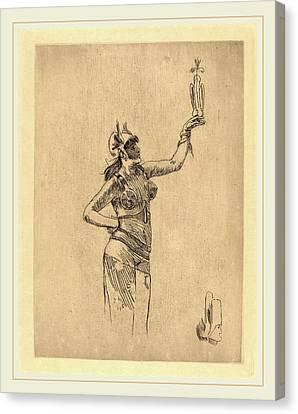 Félicien Rops Belgian, 1833-1898, The Falconer La Canvas Print by Litz Collection
