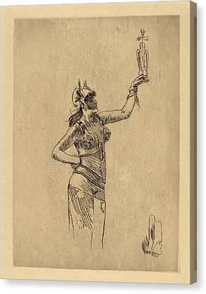 Félicien Rops Belgian, 1833 - 1898, The Falconer La Canvas Print by Quint Lox