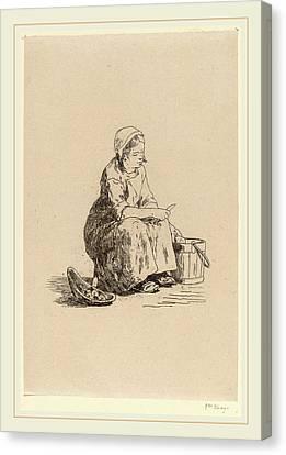Félicien Rops Belgian, 1833-1898, The Little Potato Peeler Canvas Print by Litz Collection