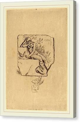 Félicien Rops Belgian, 1833-1898, The Sparrow Of Lesbie Le Canvas Print by Litz Collection