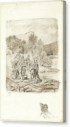 Félicien Rops Belgian, 1833-1898, Washerwomen Canvas Print by Litz Collection