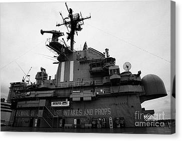 Flight Deck Island And Bridges Of The Uss Intrepid At The Intrepid Sea Air Space Museum  Canvas Print by Joe Fox