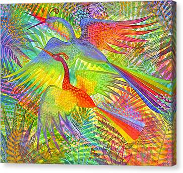 Exotic Bird Canvas Print - Flight Of Colour And Bliss by Jennifer Baird