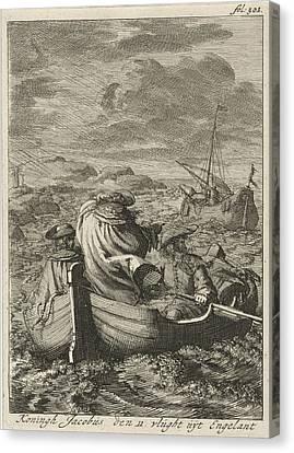 Flight Of King James II, 1688, Jan Luyken Canvas Print by Jan Luyken And Jan Claesz Ten Hoorn